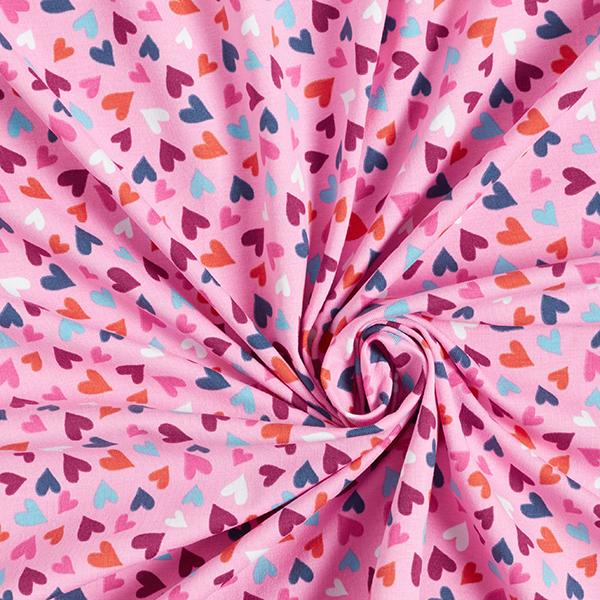 Jersey coton Cœurs – rose