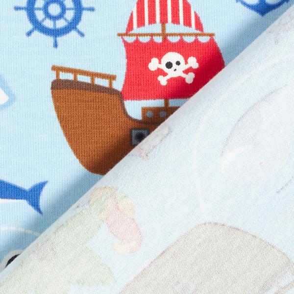 Jersey coton Le monde des pirates – bleu clair