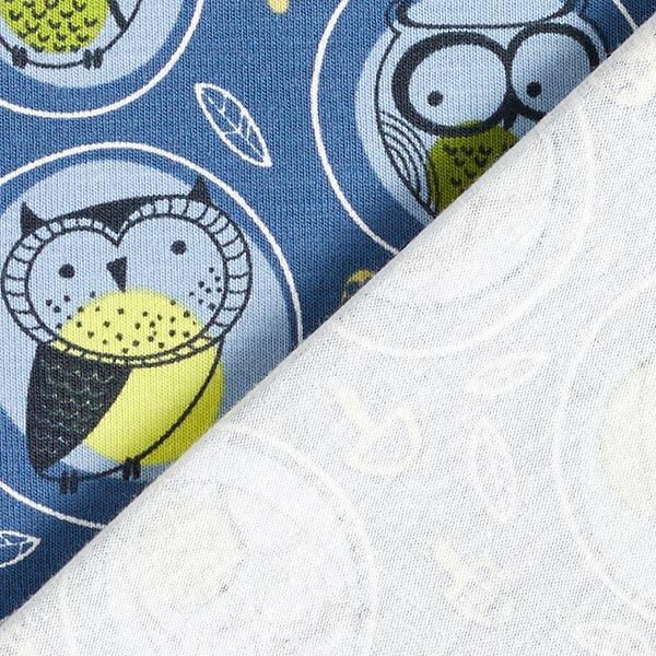 Jersey coton Chouettes – bleu acier/jaune clair