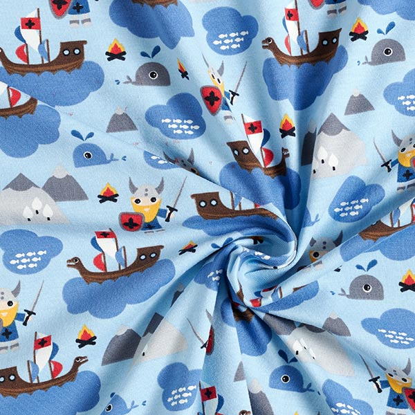 Jersey coton Vikings – bleu bébé/bleu acier