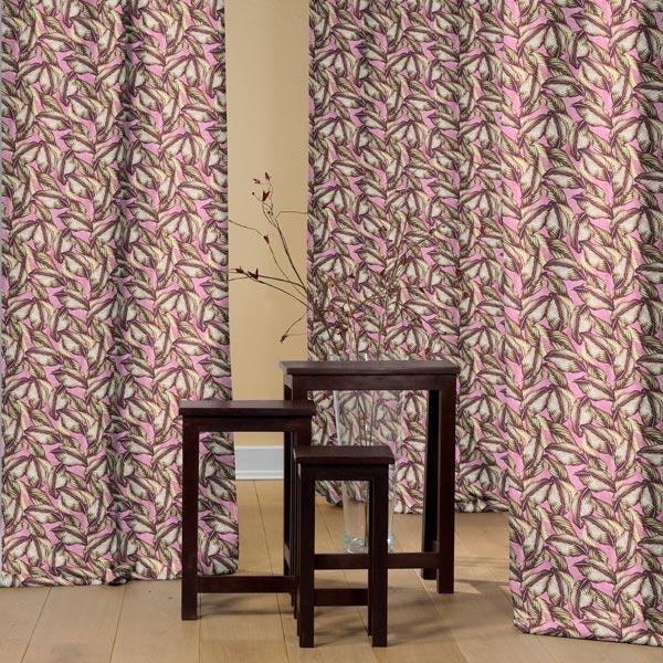 Tissu de décoration semi-panama Palma – vert/pourpre