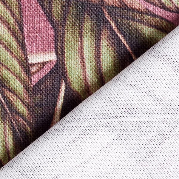 Tissu de décoration semi-panama Palma – kaki/pourpre