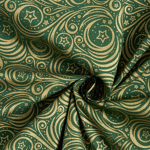 Tissu en coton Popeline Étoiles brillantes – vert foncé