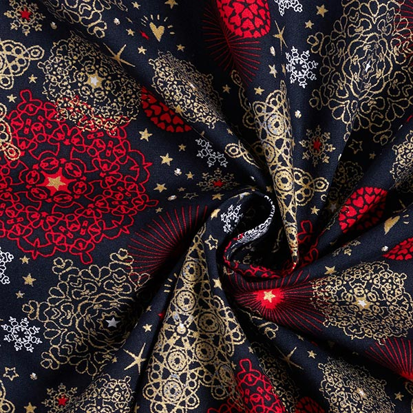 Tissu en coton Popeline Cristaux de neige – bleu marine