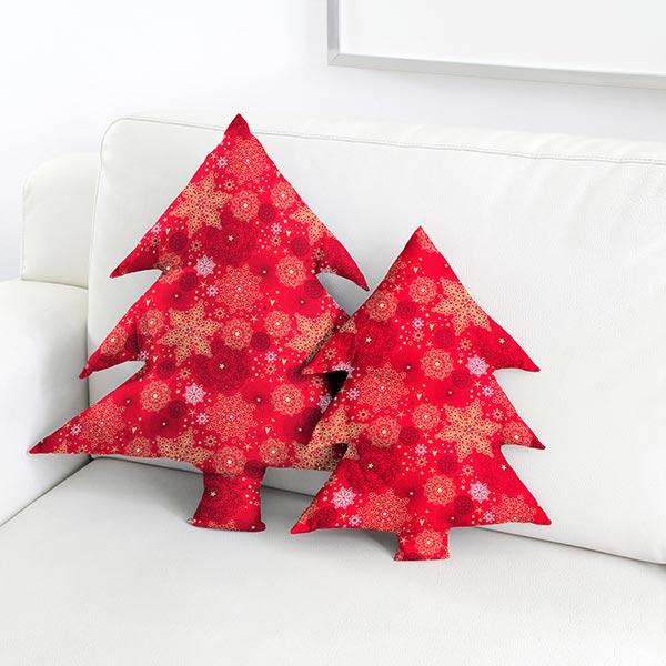 Tissu en coton Popeline Cristaux de neige – rouge