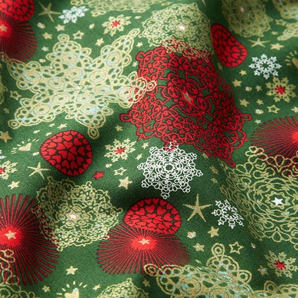Tissu en coton Popeline Cristaux de neige – vert foncé