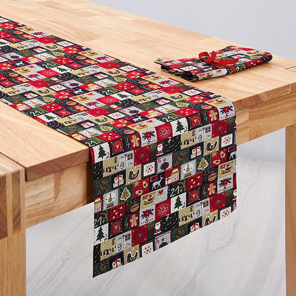 Tissu en coton Popeline Calendrier de l'Avent