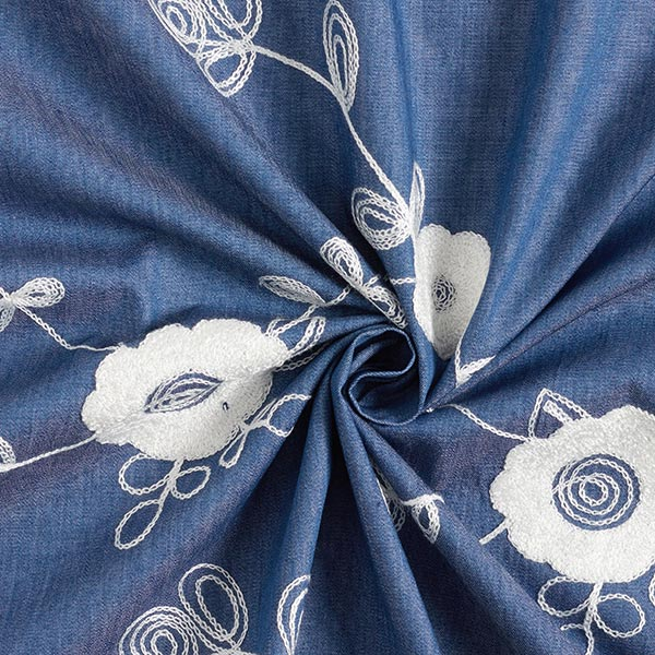 Chambray Broderie florale – bleu jean/blanc