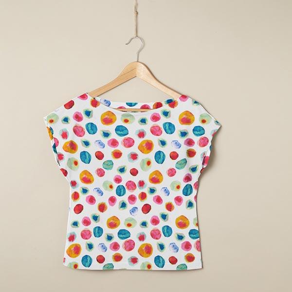 Tissu pour robe et chemise viscose aquarelle et points – blanc