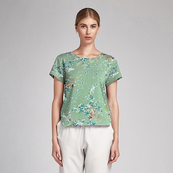 Mélange coton viscose fleurs pastel – vert menthe