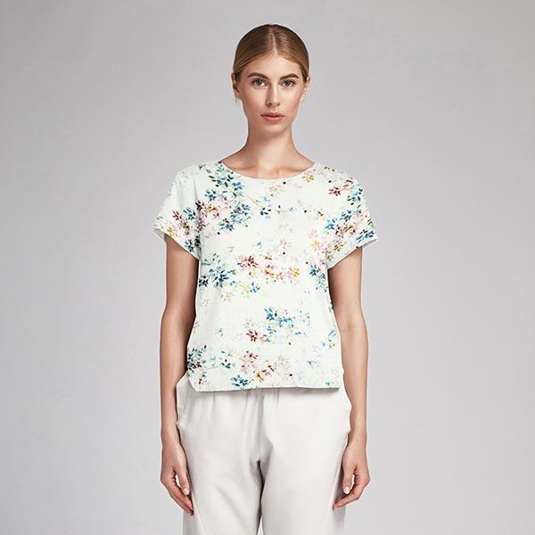 Mélange coton viscose fleurs pastel – blanc
