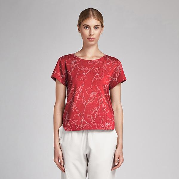 Tissu pour chemisier Mélange coton viscose Délicate peinture de tulipes – rouge clair