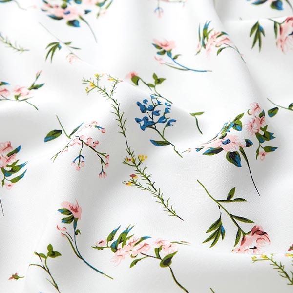 Tissu pour chemisier Viscose Tiges de fleurs délicates – blanc