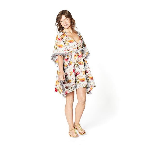 Tissu en viscose rayures brillantes et fleurs – blanc