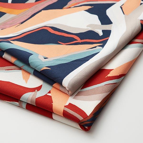 Tissu pour chemisier Stretch Motif de feuilles abstrait – rouge rouille/mélange de couleurs