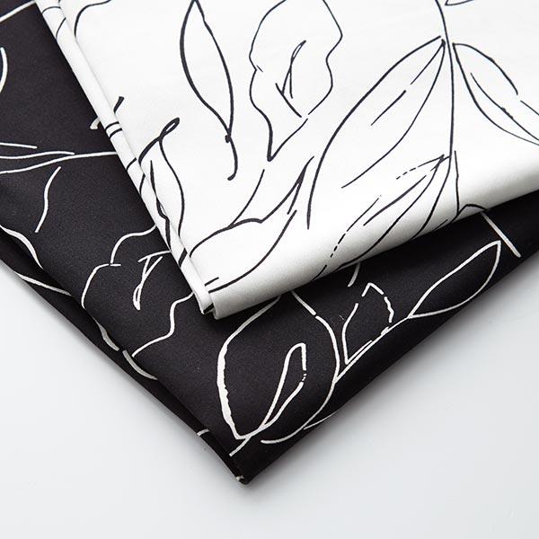 Satin de coton Peinture florale abstraite – blanc/noir