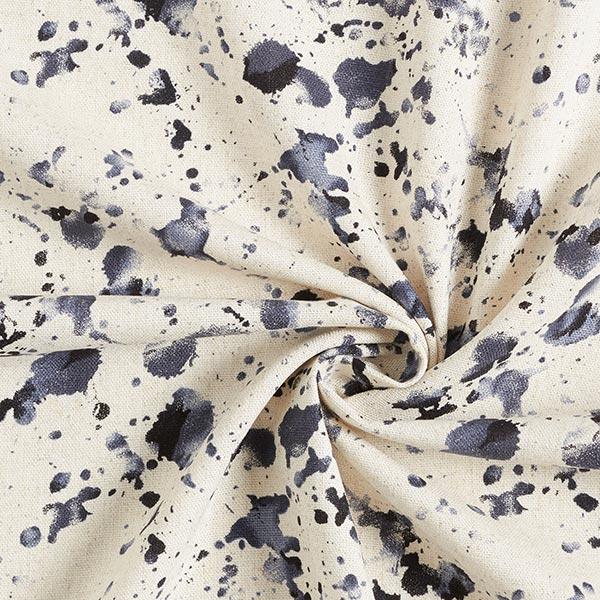 Mélange viscose lin éclaboussures de peinture – nature/navy