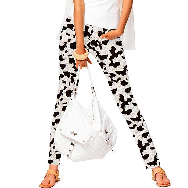 Mélange viscose lin Taches de vache – blanc/noir