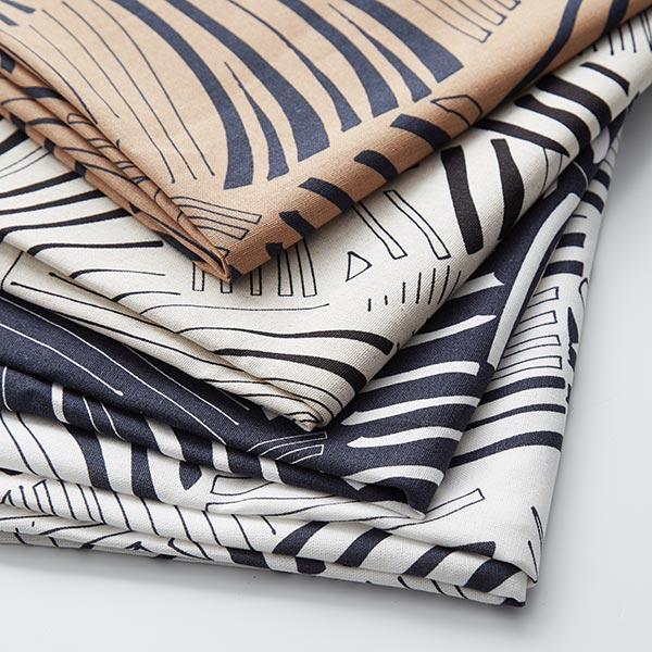 Mélange viscose lin Feuilles de palmier abstraites – blanc/noir