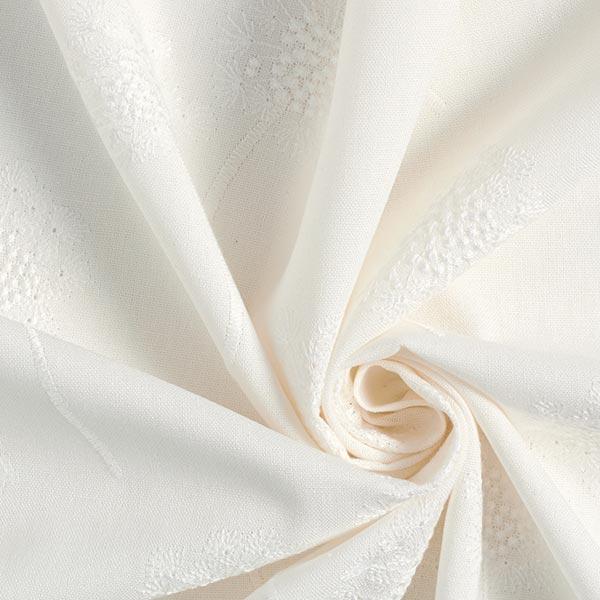 Mélange viscose lin fleurs de pissenlit brodées – blanc