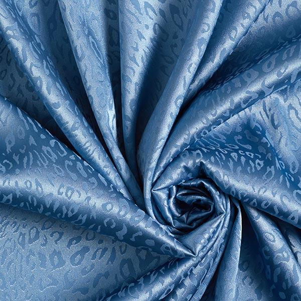 Polyester satin fin motif léopard – bleu
