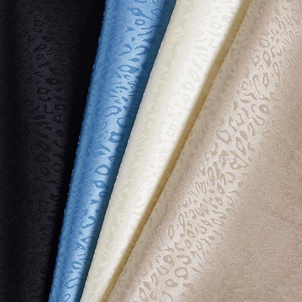 Polyester satin fin motif léopard – écru