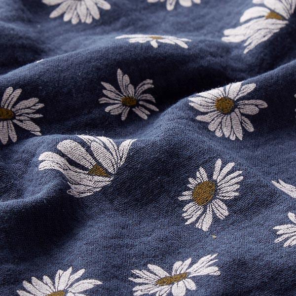 Mousseline Marguerites – bleu marine