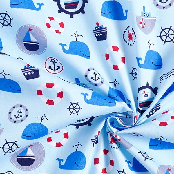 Popeline coton Monde maritime – bleu bébé