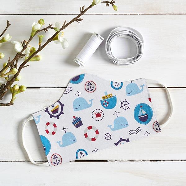 Popeline coton Monde maritime – blanc