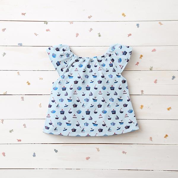 Popeline coton Bateaux – bleu bébé