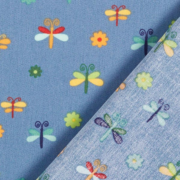 Popeline coton Libellules – bleu acier