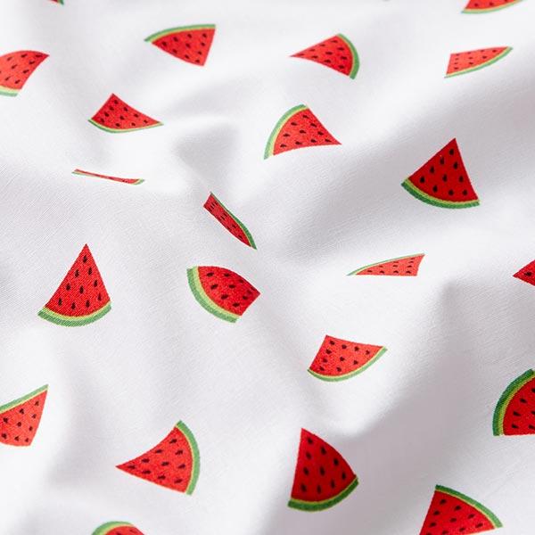 Popeline coton Melon – blanc