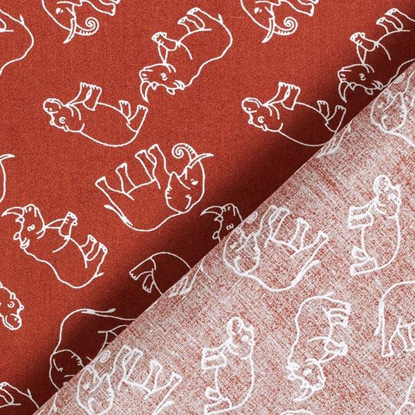 Popeline coton Eléphants et rhinocéros – terre cuite