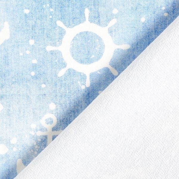 French Terry Sweat d'été Aspect jean ancre – bleu clair