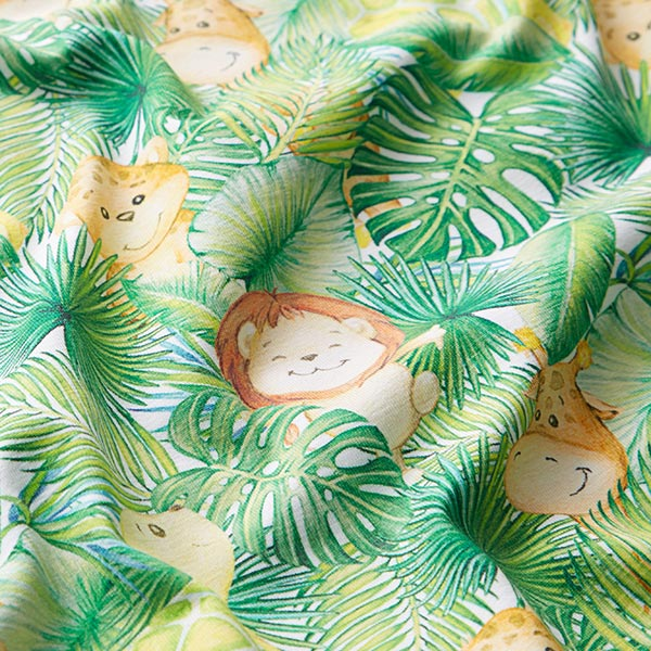 Jersey coton Adorables animaux de la jungle – blanc/vert