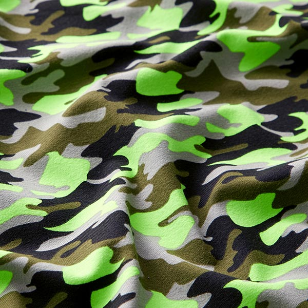 Jersey coton Camouflage fluo – gris clair/jaune fluo