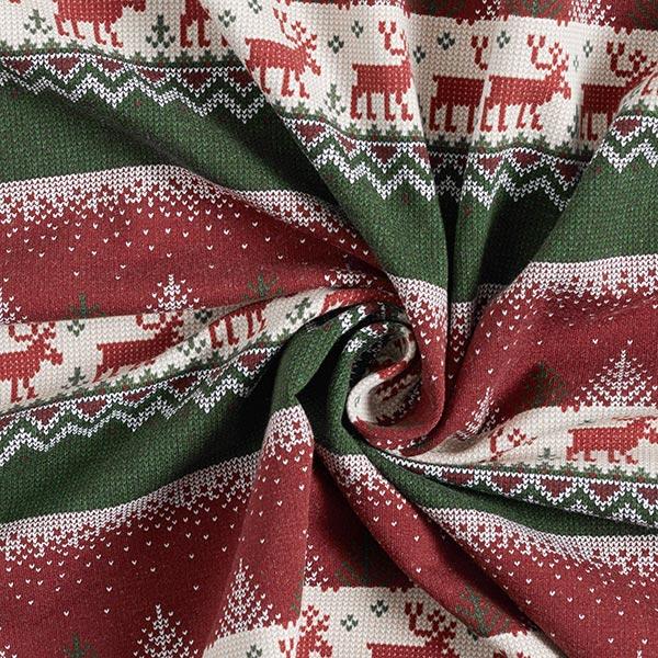 Sweatshirt gratté Motif norvégien paysage d'hiver – vert foncé/rouge cerise