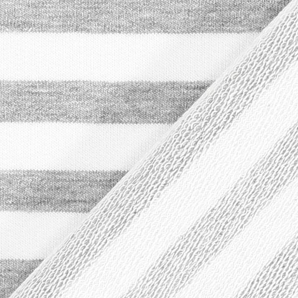 French Terry Rayures – gris/blanc