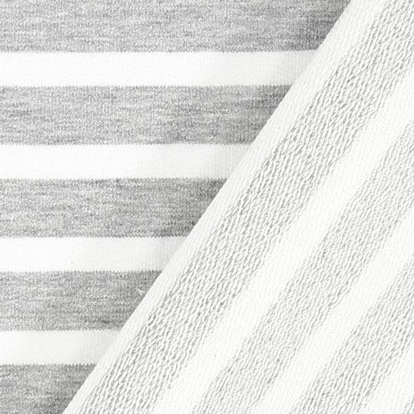 French Terry Rayures fines – gris/blanc