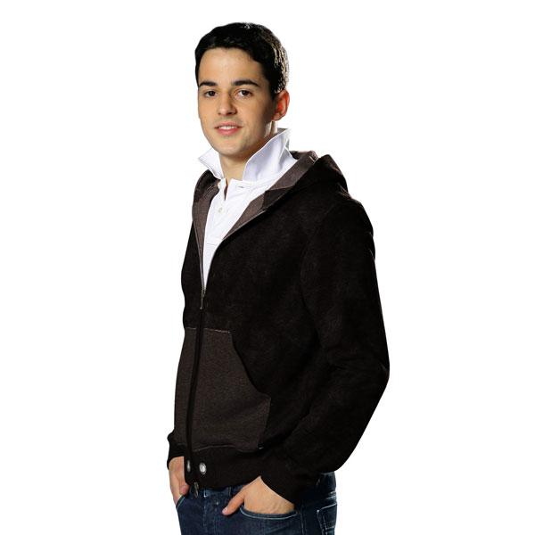 Tissu sweatshirt douillet moëlleux – marron foncé