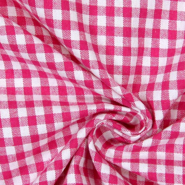 Tissu en coton Vichy - 0,5 cm – rose vif