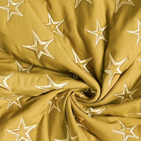 Tissu matelassé brodé Étoiles – jaune ocre