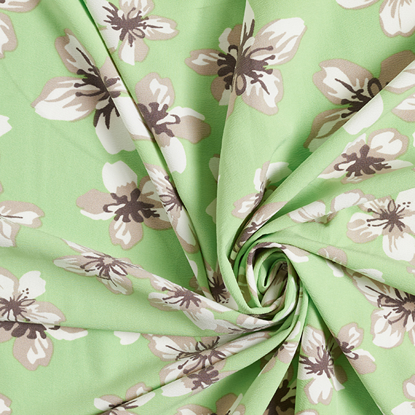 Stretch Tissu crêpe Fleurs – vert pomme