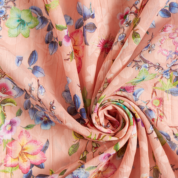 Tissus en coton Voile Dévoré Imprimé floral – abricot