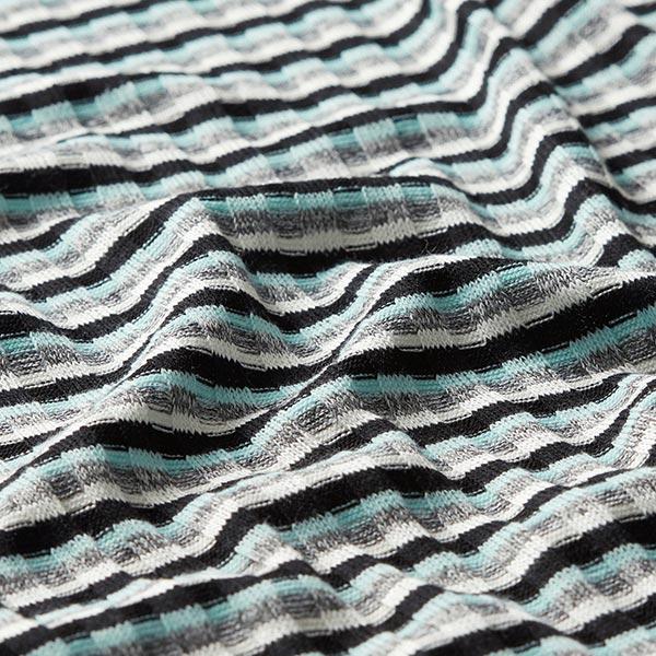 Maille côtelée Mélange viscose Rayures horizontales – vert menthe/gris