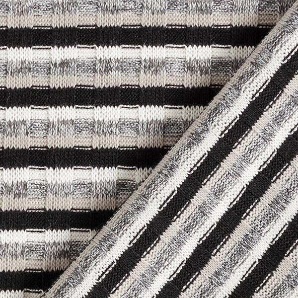 Maille côtelée Mélange viscose Rayures horizontales – beige/gris