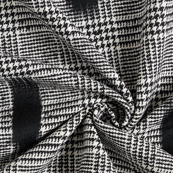 Tissu pour manteau Prince-de-Galles Branches feutrées – noir/blanc