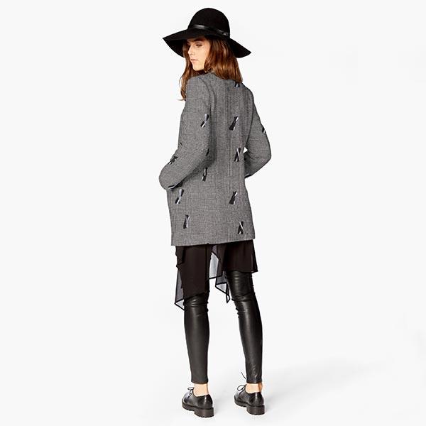 Tissu pour pantalon et costume Prince-de-Galles Rayures de feutre – noir/blanc