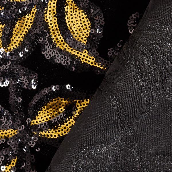 Velours stretch Broderie à paillettes Fleurs – or/noir