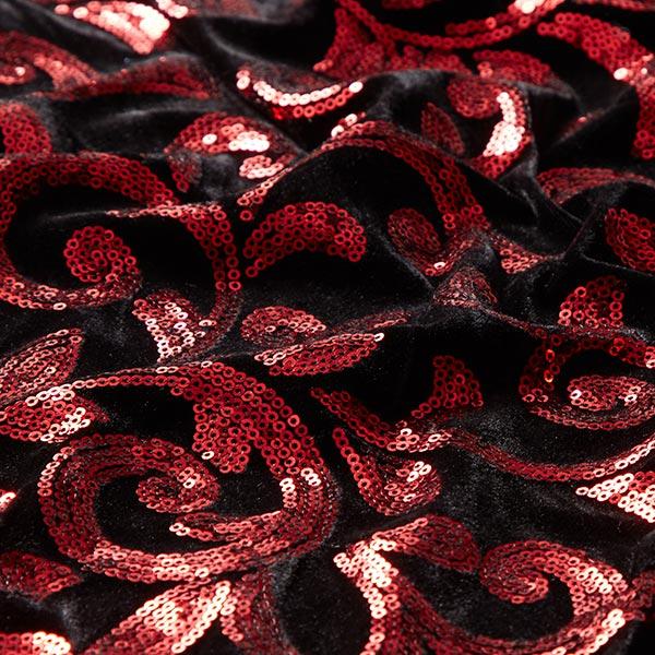 Velours stretch Broderie à paillettes Rameaux – rouge/noir